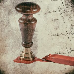 Ancient documents were sealed using wax and an impression. The impression would identify the owner of the document.