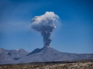 Volcanoes are important in the recycling of carbon dioxide and is associated with plate tectonics.