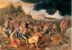 Moses parting the Red Sea for the Israelites to cross, and eventually drowning the Egyptian Army.