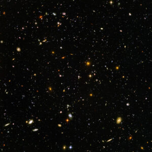 The Hubble Deep Space image demonstrates the vast universe with over 15,000 galaxies in this one image./