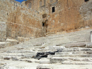The stairs of ascent went into the Second Temple in Jerusalem.