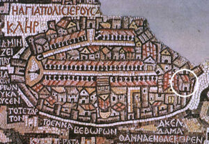Madaba Map from church in Jordan shows the Upper Room.