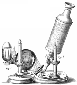 Hooke's microscope used two lenses to provide magnification and was good enough to see microscopic organisms in pond water.