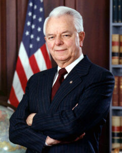 Robert Byrd was a US Senator from West Virginia who exxcelled at spending other people's money for home state projects, and then naming these projects after himself.
