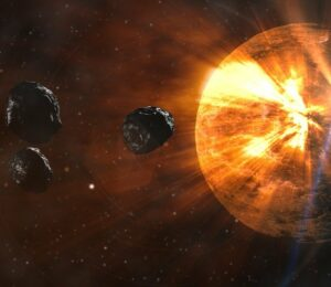 The early Earth was bombarded by a series of asteroids which periodically liquefied the rocks on Earth.