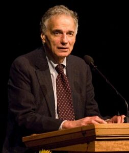 Ralph Nader is a social critic and politician who proposes the existing income inequality is fundamentally evil, and that charity perpetuates that evil.