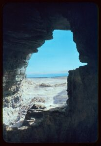 View of the Dead Sea from a cave entrance where some Dead Sea Scrolls were found.